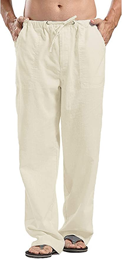 60s – 70s Mens Bell Bottom Jeans, Flares, Disco Pants COOFANDY Mens Linen Pants Casual Elastic Waist Drawstring Yoga Beach Trousers $28.99 AT vintagedancer.com
