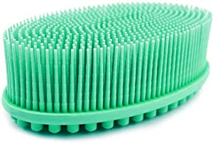 Avilana Exfoliating Silicone Body Scrubber Easy to Clean, Lathers Well, Long Lasting, And More Hygienic Than Traditional Loofah (Green)