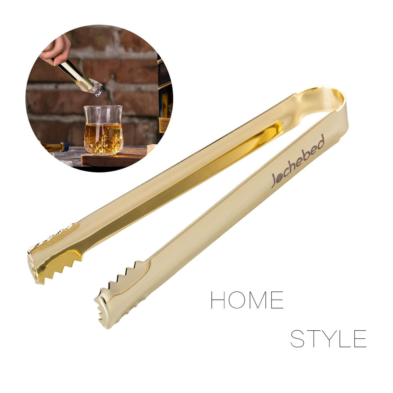 Mini Serving Tongs Metal Appetizers Tongs for Serving Ice Sugar Whiskey Rock Dessert 24K Gold Stainless Steel Ice Bucket Tongs
