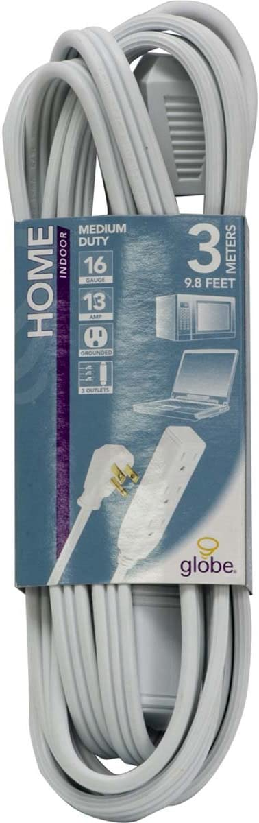 Right Angle Plug 24302 10ft Medium Duty 3-Outlet Indoor Extension Cord White Grounded