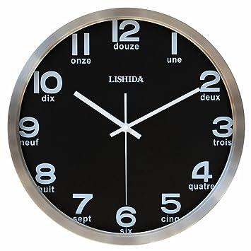 Reloj De Pared Decorativo/Reloj De Pared De Moda Inglés/Reloj De La Pared Negra De Sala De Estar/Relojes De Pared Minimalista-A 14pulgada: Amazon.es: Hogar
