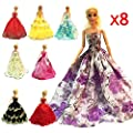 ZHIHU 8 Pcs Barbie Handmade Fashion Wedding Party Gown Dresses & Clothes Xmas Gift from zhihu
