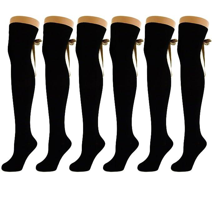 856852ab3 Ladies Ribbon Plain Over The Knee Socks Bronze Pattern (6 Pack ...