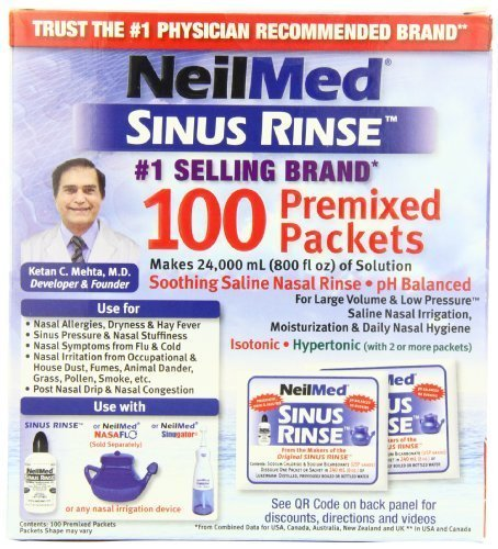 NeilMed's Sinus Rinse Pre-Mixed Packets, 100-Count Boxes (Pack of 4) by NeilMed