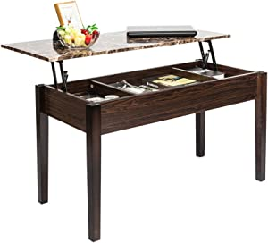 SAILSWORD Lift Top Coffee Table Wood Modern Desk with Hidden Compartment Lift Tabletop Furniture Brown