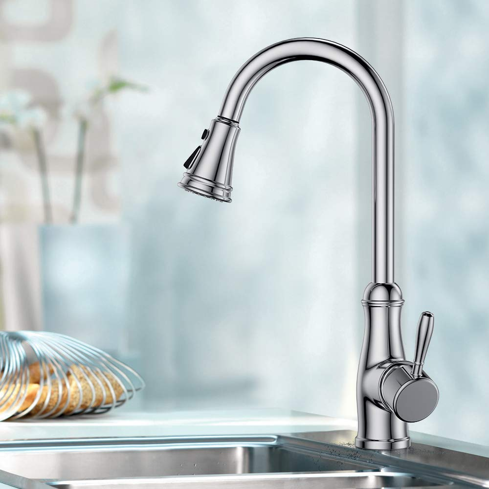 Guukar Single Handle Pull Down Sprayer Chrome Kitchen Faucet, 3 Spray Functions Solid Brass Kitchen Sink Faucets with Deck Plate