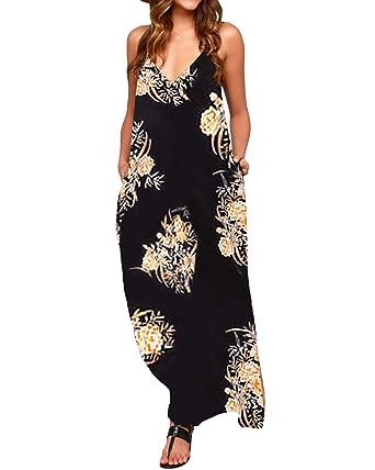100% genuine best deals on recognized brands Zanzea Robe Longue Boheme Chic Robe de Plage d'été Col V Robe Longue Boheme  Robe Longue Fluide Robe Longue Femme ete - 16036 - Taille EU 36