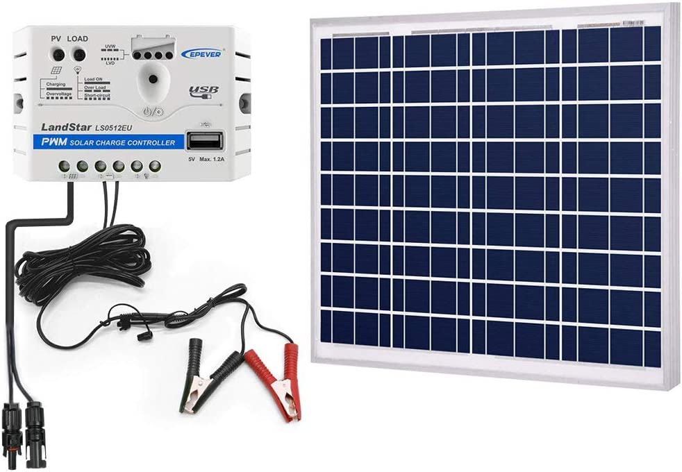 ACOPOWER 50w Watts Solar Charger Kit, 12Volts Polycrystalline Solar Panel 5A Charge Controller for RV, Boats, Camping w USB 5V Output as Phone Charger 50w Kit with SAE