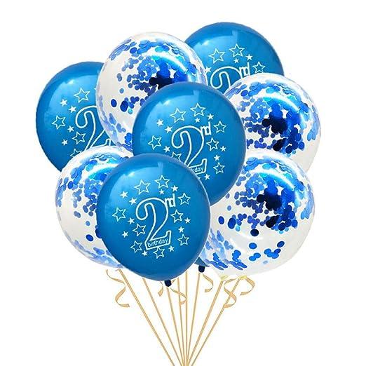 GVJBFC 2 años 10Pcs Globo de cumpleaños para la 2da Fiesta ...