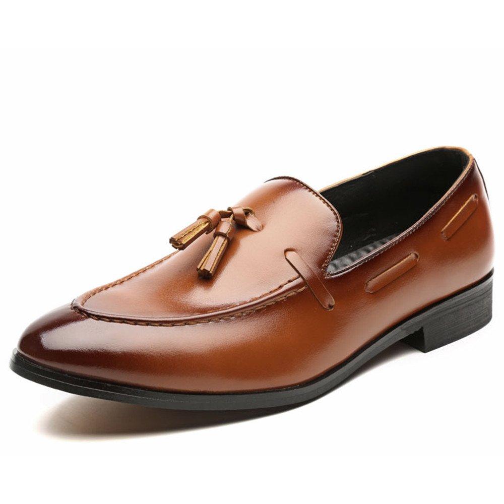 tomamos a los clientes como nuestro dios Marrón 41 EU Zapatos de de de Negocios Estilo Retro de los Hombres de Negocios Retro de los Hombres La Borla británica Lleva Zapatos de Moda con Punta Estrecha y holgazán Perezoso en los pies Zapatos  caliente