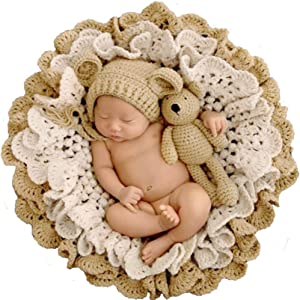 MOCOHANA Newborn Photography Props Basket Filler Baby Photoshoot Blanket Flower Set Posing for Photos, Khaki