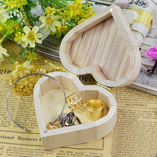 angel3292 Clearance Deals Love Heart Shaped Earrings Necklace Ring Wooden Storage Box Retro Jewelry (Galvanized Storage Cube)