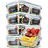 Glass Meal Prep Containers Glass 2 Compartment - Glass Food Storage Containers with Lids - Glass Tupperware Set Glass - Food Prep Containers Meal Prep Container Bento Lunch Box Containers [5pk,30oz]