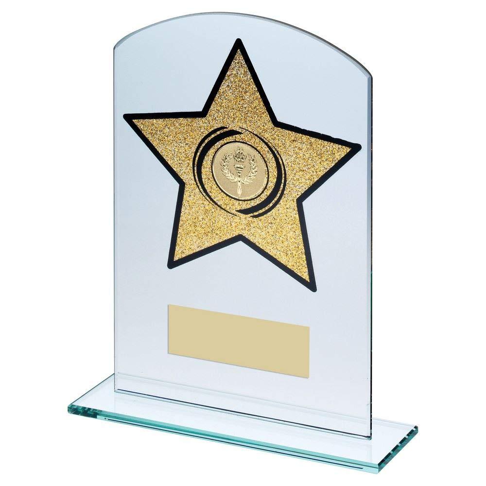 20,3 cm Dimension du Revers en Verre de Jade rectangulaire avec /étoiles dor/ées /à Paillettes 2,5 cm au Centre