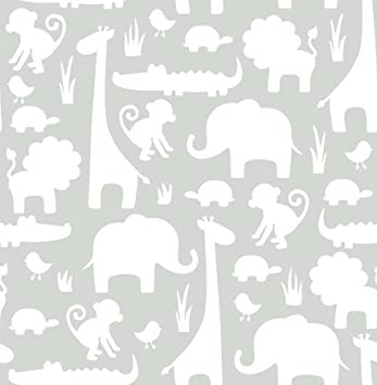 Amazon Com Wall Pops Nu1393 Gray Its A Jungle In Here Peel And Stick Wallpaper Home Improvement