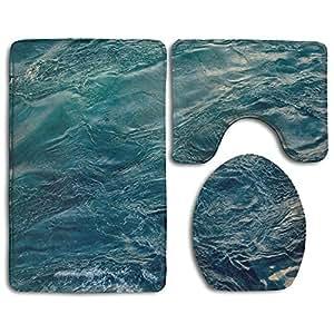 Océano Agua antideslizante alfombra de baño Set 3piezas de alfombrillas de baño incluye alfombrilla de baño alfombra/contorno/para tapa de inodoro