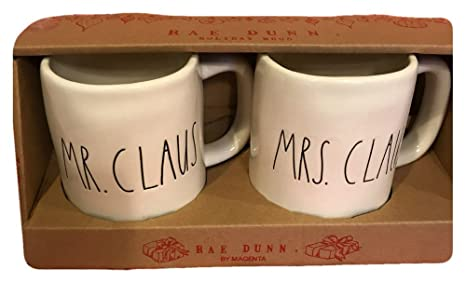 Rae Dunn Christmas.Rae Dunn Large Letter Ceramic Christmas Mr And Mrs Claus Coffee Mugs Set Of 2