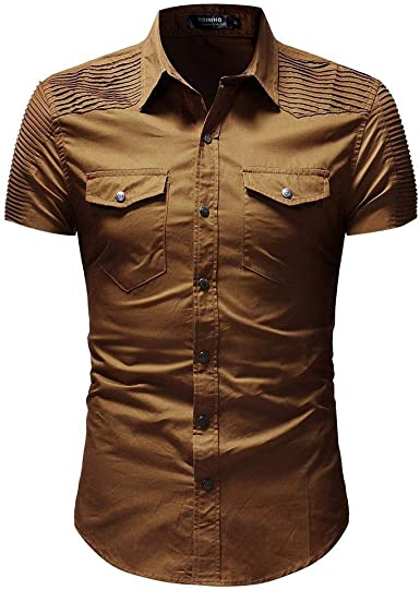 FELICIOO Camisa Vaquera Con Paneles Plisados para Hombres Camisa De Manga Corta Con Varios Bolsillos Slim Fit (Color : Caqui, Size : 2XL): Amazon.es: Ropa y accesorios