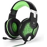 EasySMX G1000 Wired PC Gaming Headset con Microfono mic 3.5mm Audio Plug Retroilluminazione Multi Colore Controllo del Volume e Tasto di Mute