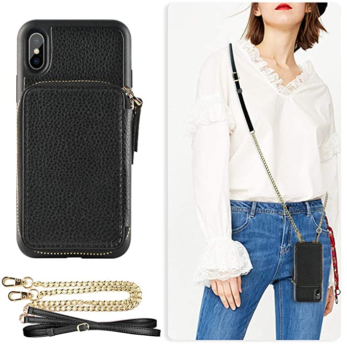 38e7b772b189c3 ZVE iPhone Xs Max Wallet Case iPhone Xs Max Case with Credit Card Holder  Slot Crossbody