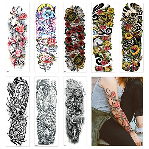 Lady Up 10 Sheets Full Arm Extra Large Temporary Tattoo For Adults Women and Men