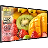 Hzgang 120inch Projector Screen Indoor Outdoor Portable Movie Screens 16:9 HD Projection 4K Home Theater Gaming Office…
