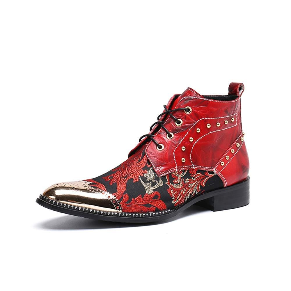 DADIJIER Herrenmode Ankle Stiefel Lässige Metallic Spitz Niet Niet Niet Dekoration Schnürschuh Blaume Druck Formelle Schuhe Dauerhaft (Farbe   Rot, Größe   41 EU) 60ef17