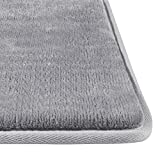 "Genteele Memory Foam Bath Mat Non Slip Absorbent Super Cozy Velvet Bathroom Rug Carpet (Gray, 17"" X 24"")"
