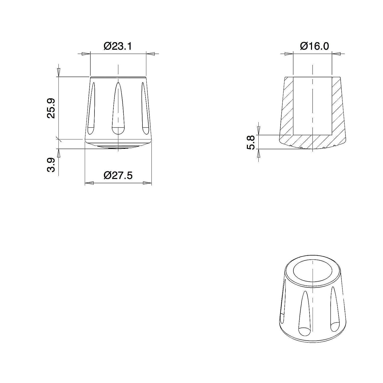 ajile Fusskappe Rohrkappe aus Verst/ärktem Vulkanisiertem Gummi SCHWARZ f/ür Tisch EVS116x16-FBA Stuhlf/üsse M/öbelf/üsse mit 16 mm Durchmesser 16 St/ücke