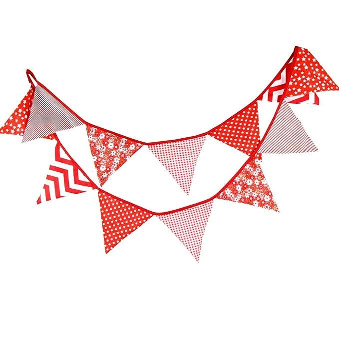 G2PLUS Guirnalda de Banderas, 304,8 cm, triángulos, Vintage, de Tela, decoración para Fiestas de cumpleaños, Ceremonias, Cocina