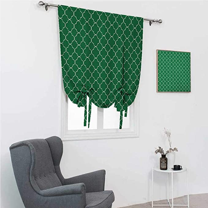 Room Darkening Curtain Quatrefoil Cute Curtains For Window Four Leaf Clover Flower On Moroccan Trellis Mosaic Pattern Traditional Digital Print 35 Wide By 64 Long Green Home Kitchen