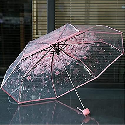 Ruikey Clear romántico paraguas de cereza ligera compacta plegable impermeable impermeable paraguas para damas chicas (