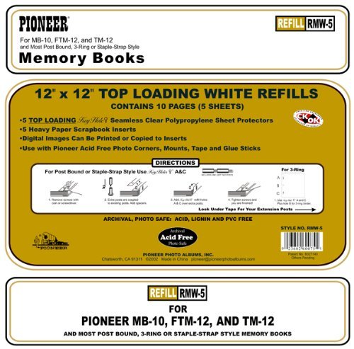 Pioneer Photo Albums RMW5 Top Loading & Pocket Scrapbook Refills 12X12 for MB10 (Two Pack)