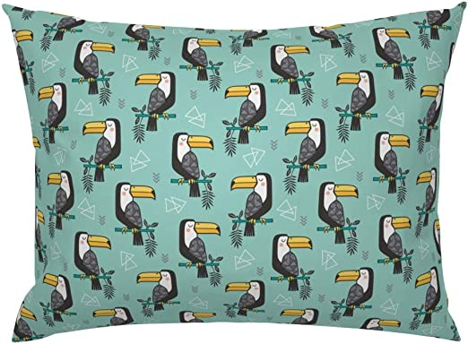 Jungle birds print fabric blue green summer toucan tropical cotton canvas
