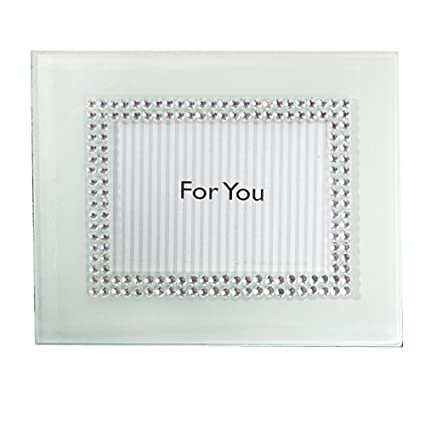 Amazon.com - White Glass w/Crystal Accent Place Card Frames Our ...