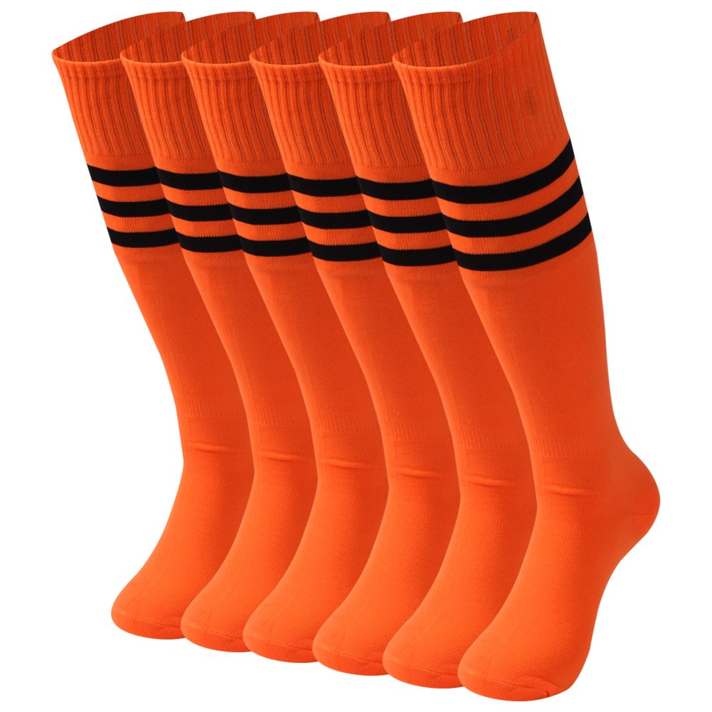 saounisi Unisex Knee High Socks,6 Pairs Bright Colored Crazy Funky Light Cute Black Stripe Football Soccer Team Sports Tube Long Cheering Squad Socks Size 9-13 Orange by saounisi
