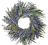 Texas Sage With Lilac 24 Inch Preserved Eucalyptus Wreath Spring Summer Interior Decorative Accesory