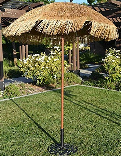 Bayside-21 Tiki Umbrella Tilt Outdoor Thatch Beach Patio Umbrella Hawaii Style Beach Umbrella Press Button Metal Tilt UV Protection UPF 50+ (6.5 FT, Natural)