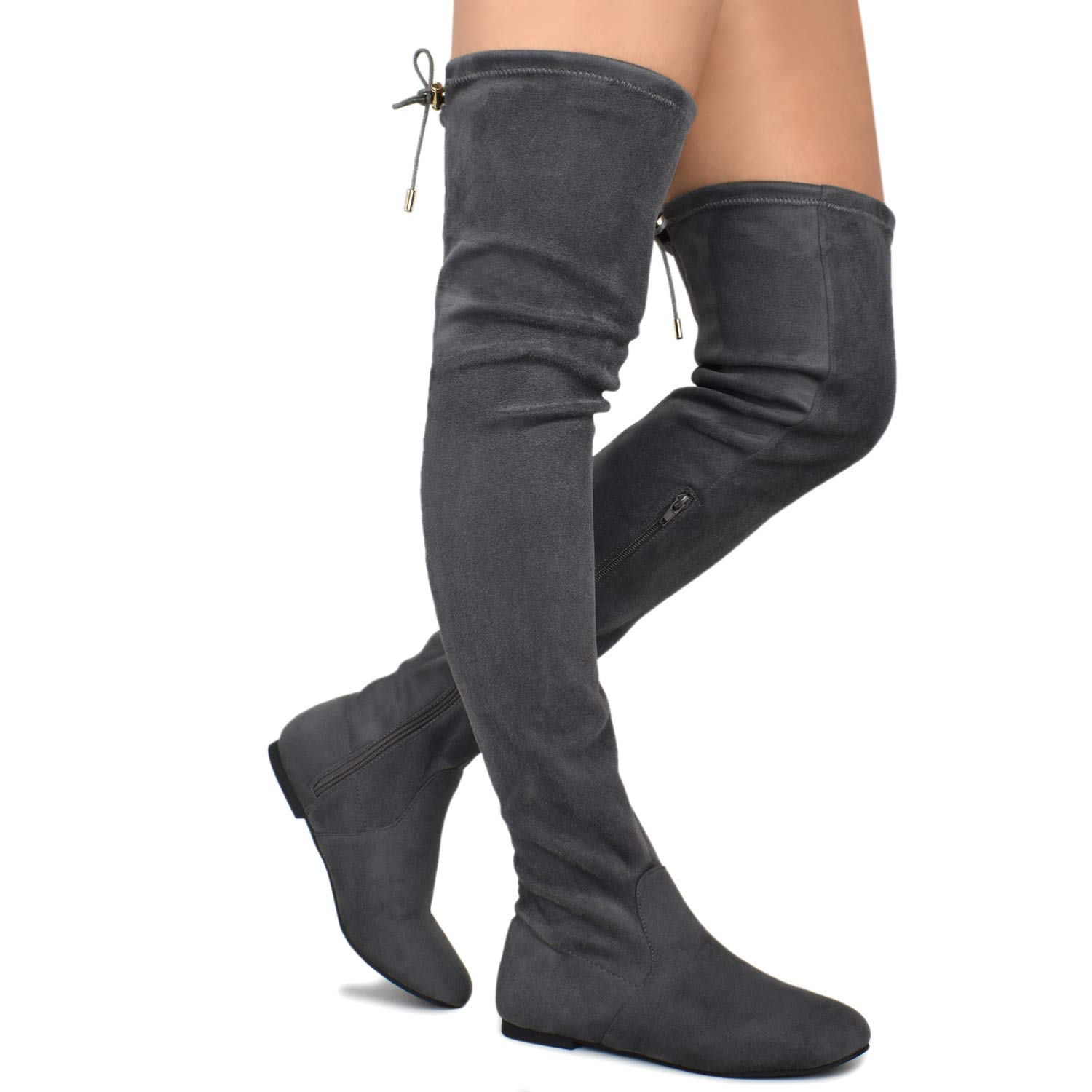 Premier Standard - Women's Fashion Comfy Vegan Suede Side Zipper Over Knee High Boots