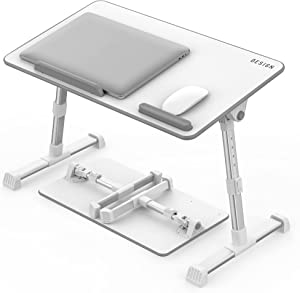 Besign LT06 Adjustable Latop Table, Portable Standing Bed Desk, Foldable Sofa Breakfast Tray, Notebook Computer Stand for Reading and Writing, White