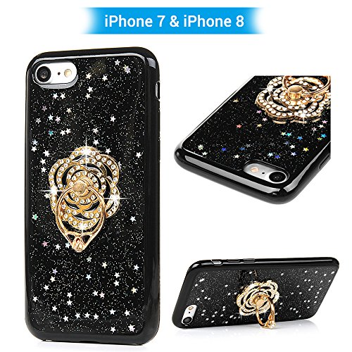 Case for iPhone 7 Case, iPhone 8, Luxury Classical Black Soft Flexiable TPU Cover Inscribed 3D Handmade Bling Sparkle Glitter Star Skin with 360?Rotation Universal Mobile Phone Finger Ring Stand Grip