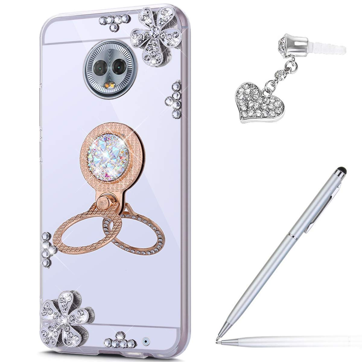 ikasus Case for Moto G6 Plus Diamond Case,Crystal Inlaid diamond Flowers Rhinestone Diamond Glitter Bling Mirror Back TPU Case & Ring Stand + Touch Pen Dust Plug for Moto G6 Plus Mirror Case,Silver by ikasus