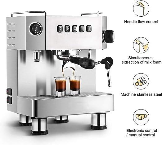 WLNKJ Cafetera Automático, Máquina De Café Súper De 15 Bares Y Capuchino Control De Flujo De Aguja De Alto Estándar Control Electrónico/Manual - Oficina Comercial Doméstica: Amazon.es: Hogar