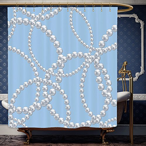 Wanranhome Custom-made shower curtain Pearls Pearl Necklace Bracelet Classic Women Jewelry Bridal Shower Decor Artwork Baby Blue White For Bathroom Decoration 72 x 88 - Singapore Female Model