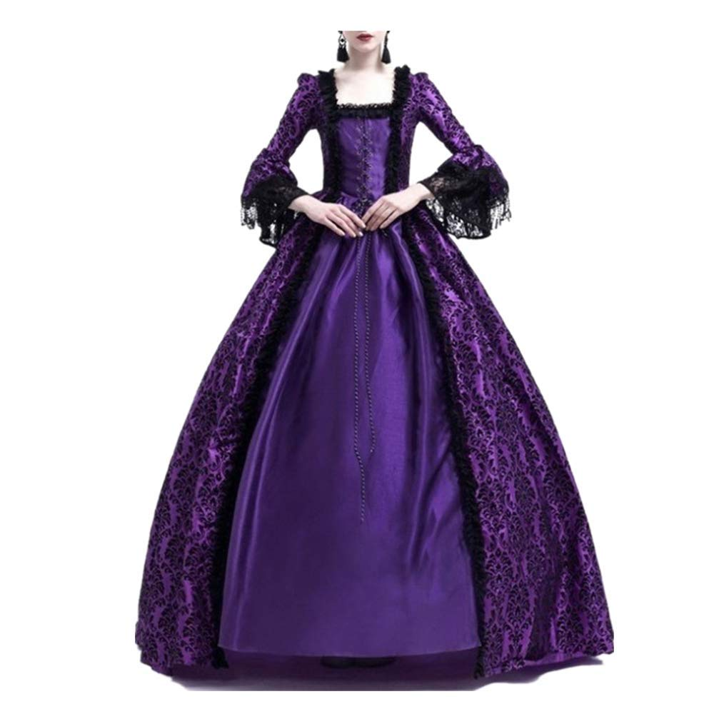 Women Halloween Medieval Victorian Cosplay Costume,Renaissance Gothic Princess Party Dresses Purple by sweetnice Women Dresses