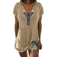 Pongfunsy Plus Size !Women's Loose T-Shirt, Women Summer Button Buckle Casual Short Sleeve Top Neckline Patchwork Shirt
