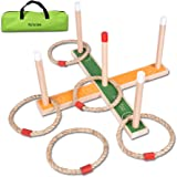 Ring Toss Game - Wooden Ring Toss Set With Case, Suitable For All Age & In/Outdoor, Christmas Gift Toy For Kids To Improve Eye-Hand Coordination & Fine Motor Skills Ring Toss Game