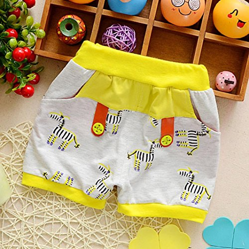 Ankola Children Summer Cartoon Zebra Print Shorts Toddler Kid Baby Boys Summer Casual Cotton Blend Shorts Pants with Pockets (Yellow, 6M) by Ankola (Image #1)