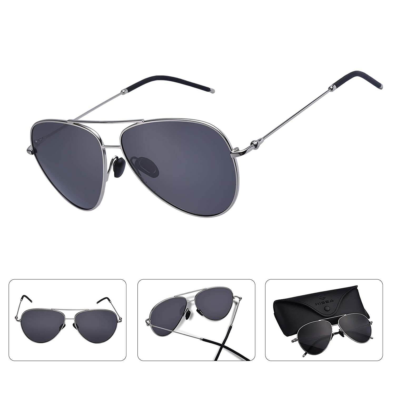 HISEA Aviator Sunglasses for Men Women, Polarized UV Eye Protection 100% UV protection OneStone
