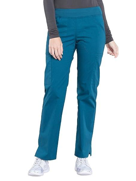 11343f74b40 Cherokee WW Professionals WW170 Mid Rise Straight Leg Pull-On Pant  Caribbean Blue XXS Petite